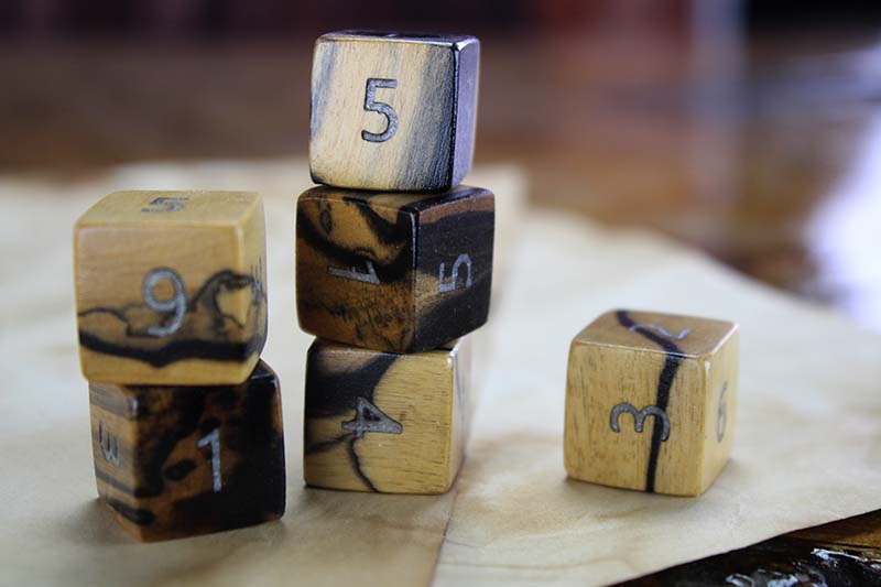 Black and White Ebony D6 Set of 6