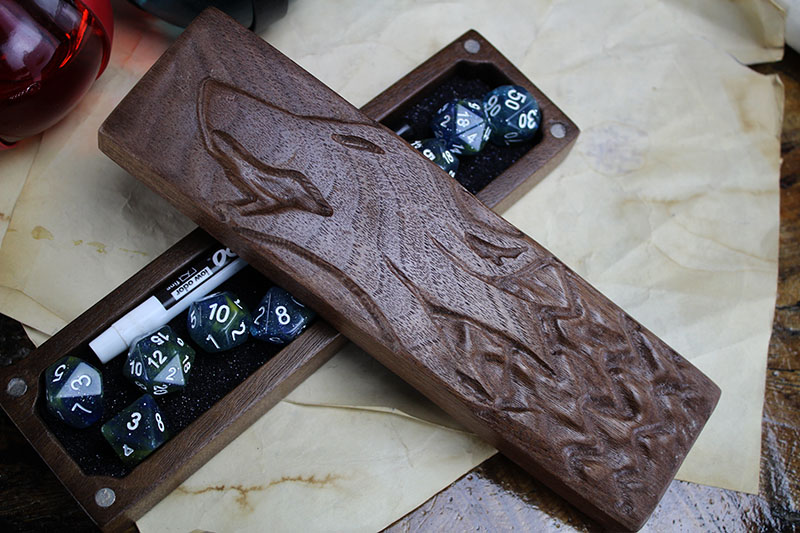 Black Walnut Howling Wolf Dragon Sheath