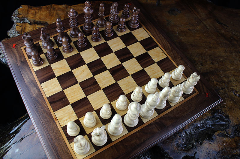 Magnetic Black Walnut & Maple Chess Set