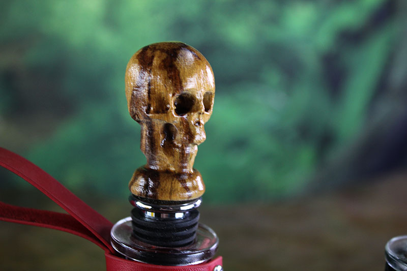 Marblewood Skull Bottle Stopper