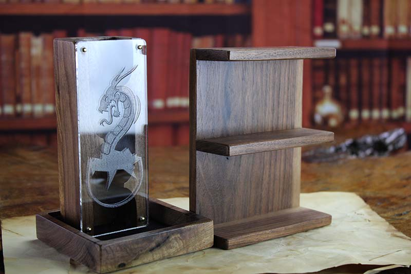 Black Walnut Dice Tower & Shelf Accessory Pack