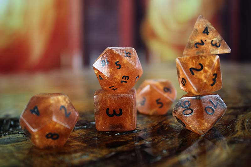 Orange Resin Polyhedral Set