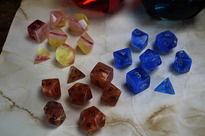 3 Sets of Resin Polyhedral Dice
