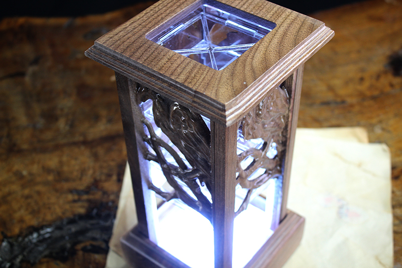 Black Walnut Raven Lantern